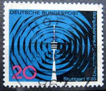BUNDESPOST: MiNr.481 Waves and Stuttgart Television Tower 20pf 1965