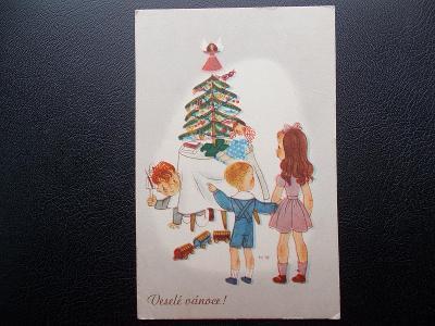 Pohlednice Veselé vánoce děti u stromečku vláček anděl  hlubotisk