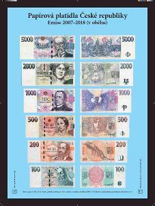 výstavní panel Papírové peníze České rep. 20 - emise 2007-18 (platné)