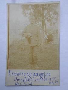 VOJÁK ARMÁDA I. ww VOJÁCI NĚMECKO FOTO 1916 ZÁPADNÍ FRONTA