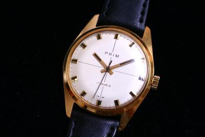 pánské hodinky PRIM 66, bílý číselník, zlacené pouzdro, TOP STAV
