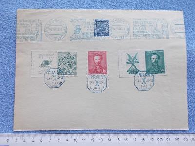 Filatelie Sokol slet Tyrš Pamětní list razítka stroj  známka s kuponem