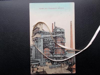 Kladno Huť Poldi železárny Vysoká pec továrna vozíky antik  Nymburk