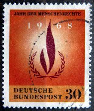 BUNDESPOST: MiNr.575 Human Rights Flame 30pf 1968