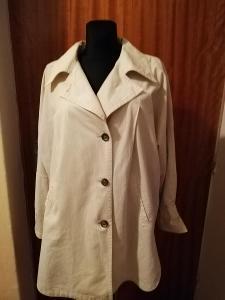 Kvalitní, dámský jarní kabát,pískový,len+bavlna,vel.42.