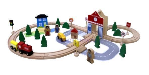 Skládací dřevěný barevný vlak světlem a zvukem, nový.