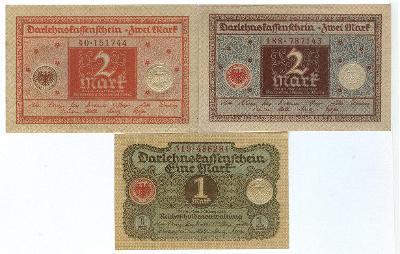 NEMECKO - 1 Mark + 2 Mark + 2 Mark - 1920 - UNC