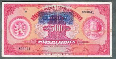 500 korun 1929 SLOVENSKÝ ŠTÁT NEPERFOROVANA