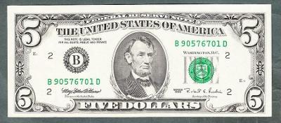 USA Amerika 5 dollars 1995 stav 1+