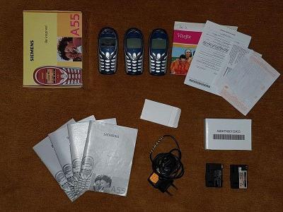 3x mobilní telefon Siemens A55 + originální příslušenství