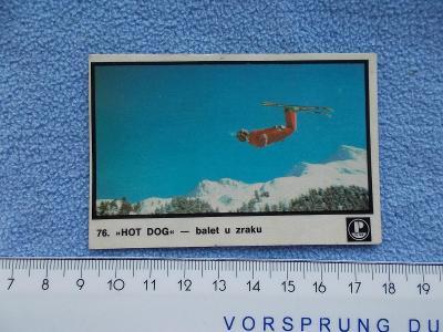 Stará reklamní kartička karta skoky na lyžích zimní sport Chorvatsko