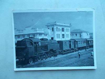 Pohlednice Albánie nádraží  Durrec  železnice vlak lokomotiva 1957