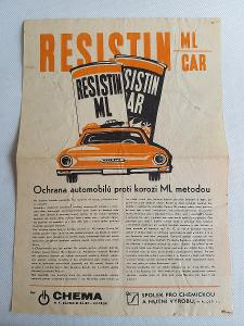 Starý prospekt Resitin ML Car Škoda 1000 MB Chema