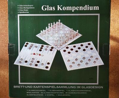 luxusní herní set GLAS KOMPENDIUM - Šachy, Dáma, Vrhcáby - sklo