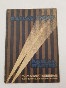 Originální příručka brožura Pallas světla starter dynamo spínačka 1922
