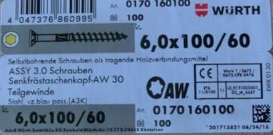 Šrouby ASSY 3 WÜRTH - vrut celý závit 6x100- krabička 100ks AW30 /TX30