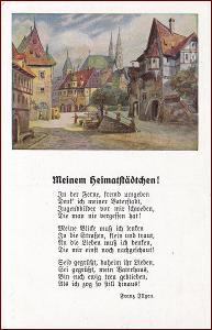 Krajina * domy, městský motiv, umělecká, báseň * M5840