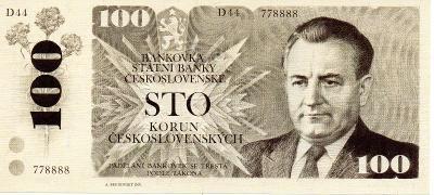 100 Kčs (1977) UNC nerealizovaný návrh - novotisk STC a slepotisk ČNB