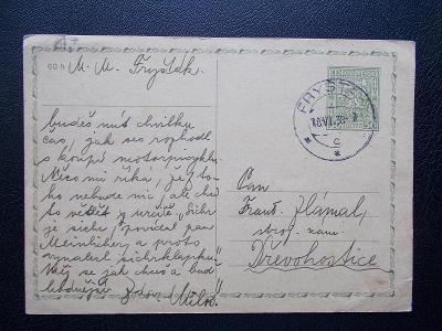 Korespondenční lístek razítka Zlín Fryšták 1938