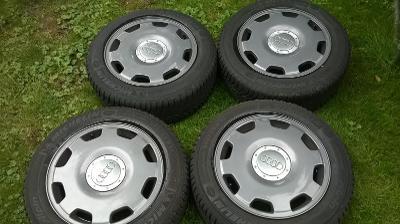 ALU KOLA audi 16 po renovaci +zimní pneu MICHELIN 215/55/16, 7 - 7.5mm