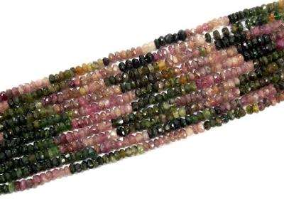 Doprodej: Turmalín rondelky fas šperkové 4mm, šňůra 10cm, In46
