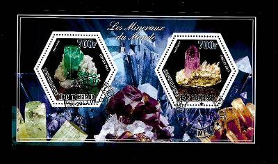 Čad 2014 - Minerály - smaragd, ametyst