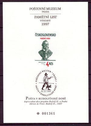 1997 (ČR) - Vzácný tisk poštovního muzea - PTM 9, Rudolf II. (3217)