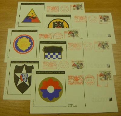 Pamětní list US Army v Plzni 1945 - 1990 - sada šesti kusů /ZA4°132