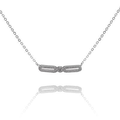 Jemný stříbrný náhrdelník (925/1000) s ornamentem plným zirkonů