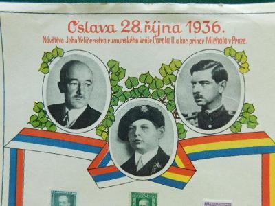 Nálepní List - Oslava 28.října 1936 - Praha - Návštěva Král Carola II.