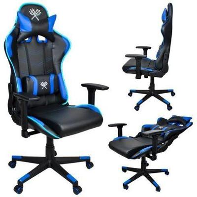 Herní židle černo modrá LED + dárek