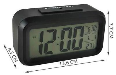 Budík LED displej 12 / 24h Teplota alarmu Datum 3xAAA Černá + dárek
