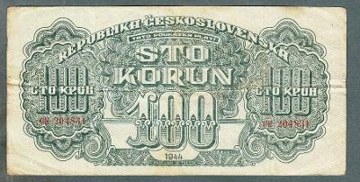 100 korun 1944 serie CH NEPERFOROVANA