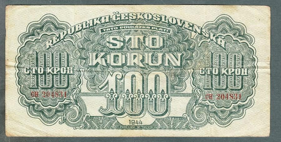 100 korun 1944 serie CH NEPERFOROVANA - Bankovky