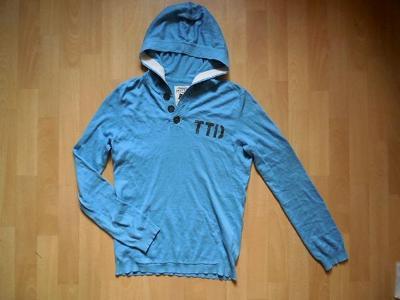 pánský Tom Tailor sv.modrý svetr s kapucí, kapsa  slabý  M