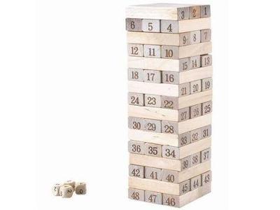 VĚŽ JENGA DŘEVĚNÁ HRA Věž s kostkami + dárek