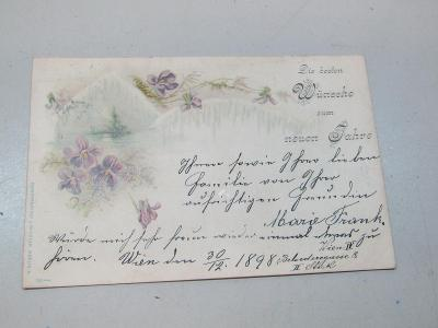Starožitný pohled / Postkarte Neuen Jahre 1898