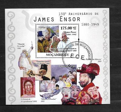 Mosambik 2010 -belgický malíř a grafik James Ensor - maškary