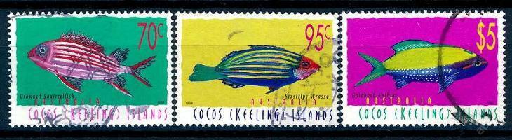 Kokosový ostrov , Cocos Islands 1998 o/Mi 367/9 ryby , komplet , /AL/