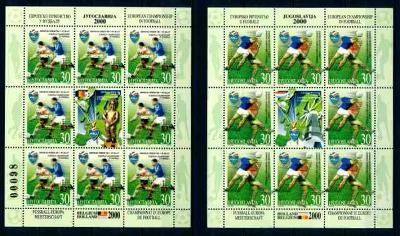Jugoslávie **/2000 Mi. 2977-8 , aršík číslovaný , fotbal sport ,  /N1/