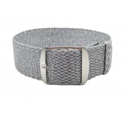 Řemínek k hodinkám, perlon, průvlek - stříbrný, 20mm