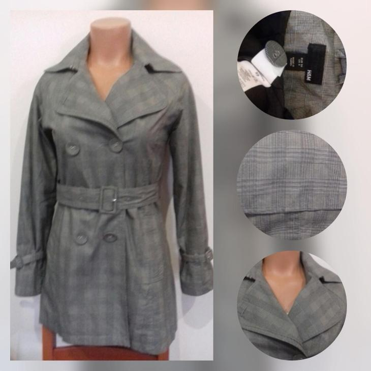 Károvaný dvouřadý trenčkot šedá bílá černá, H&M, 34, nový  - Dámské oblečení