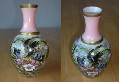 Luxusní autorsky malovaná váza, detailní malba v perfektním stavu