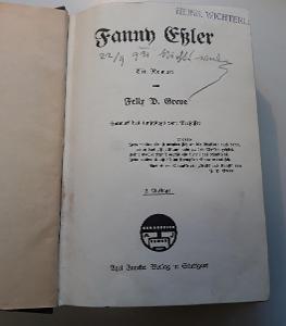 -- FREDERICK PHILIP GROVE  - FANNY ESSLER 1906 --