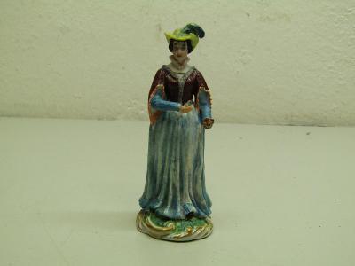 Starožitná figurální porcelánová soška dáma s kloboukem