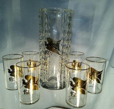 Souprava k MDŽ 1972, váza a 6 skleniček
