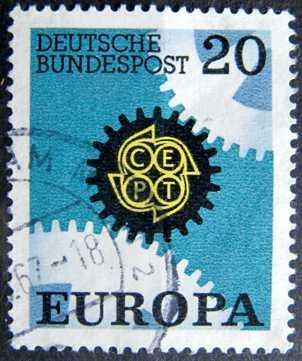 BUNDESPOST: MiNr.533 Cogwheels 20pf, Europa Issue 1967
