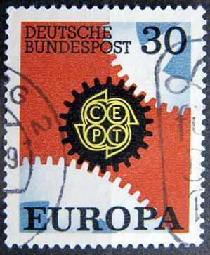BUNDESPOST: MiNr.534 Cogwheels 30pf, Europa Issue 1967