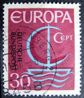 BUNDESPOST: MiNr.520 Symbolic Sailboat 30pf, Europa Issue 1966
