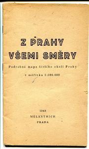 Podrobná mapa středních Čech, 1948